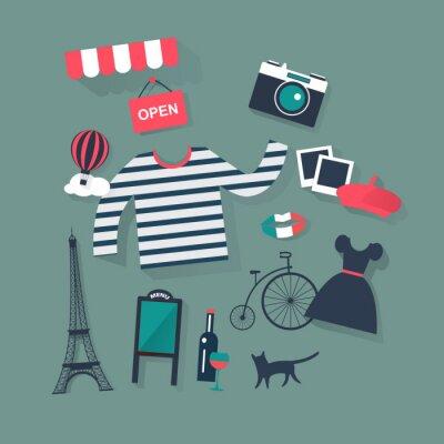 Väggdekor semester och semester platt vektor franska ikoner mode och bist