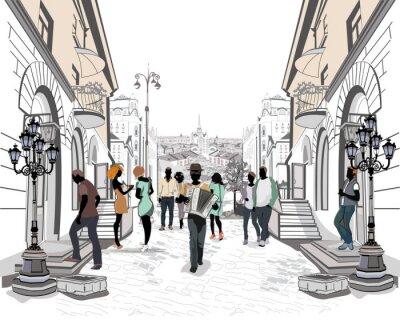 Väggdekor Serie av gatorna med folk i den gamla staden.