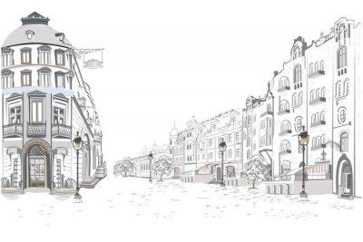 Väggdekor Serie av gatuvyer i den gamla staden. Handritad vektor arkitektonisk bakgrund med historiska byggnader.