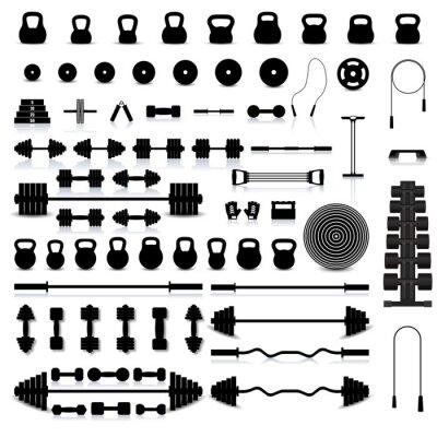 Väggdekor Set av sportutrustning, vektor illustration.