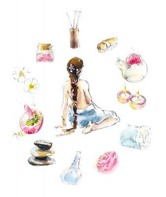 Väggdekor Set for SPA salon. Watercolor hand drawn illustration.