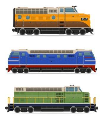 Väggdekor set ikoner lok tåg vektor
