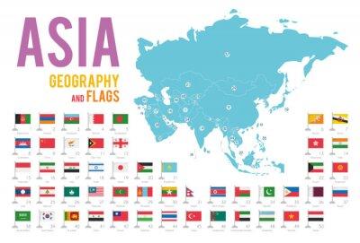 Väggdekor Set med 50 flaggor Asien isolerad på vit bakgrund och karta över Asien med länder som ligger på den.