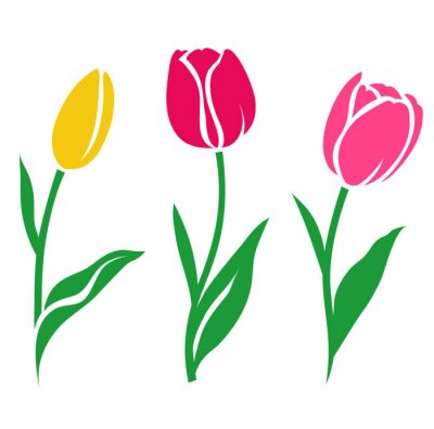 Väggdekor Set med färgglada tulpan silhuett. Vektor illustration. Insamling av dekorativa blommor
