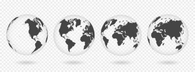 Väggdekor Set med genomskinliga jordklot. Realistisk världskarta i jordklotet med transparent struktur och skugga