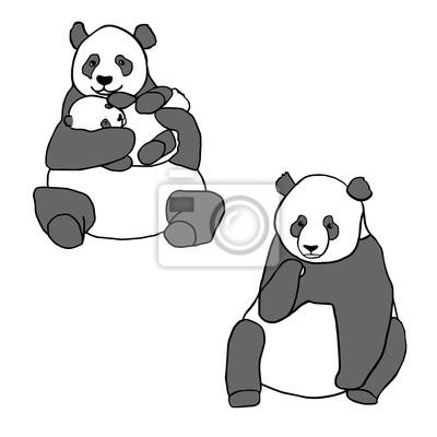 Väggdekor Set med två söta pandor och unge. Handritad vektor illustrationer isolerade på vitt. Söt mamma panda med lilla baby och sitter panda