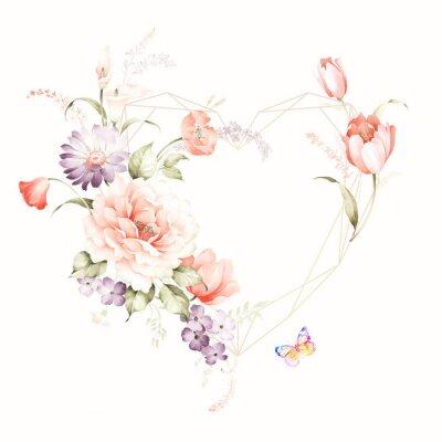 Väggdekor Set of card with flower rose, leaves. Wedding ornament concept. Floral poster, invite. Decorative greeting card or invitation design background