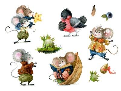 Väggdekor Set of cute christmas mice in cartoon style. Watercolor christmas illustration