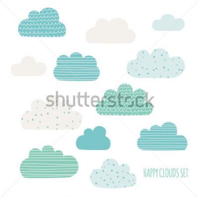 Väggdekor Set of cute clouds. Design for kids. Vector illustration