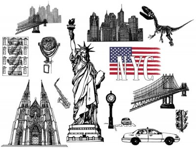 Väggdekor Set of hand drawn sketch style New York themed isolated objects. Vector illustration.