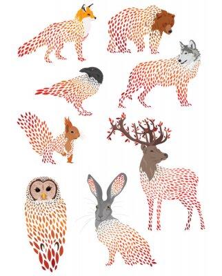 Väggdekor Set of stylized animals. Collection of cartoon forest animals. Logos of wild animals. Illustration for children.