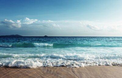 Väggdekor Seychellerna stranden i solnedgången tid