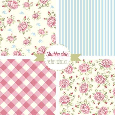 Väggdekor Shabby Chic Rose mönster. Ställ seamless. Blom- mönster, bakgrunder. vektor