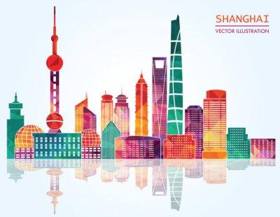Väggdekor Shanghai detaljerade horisonter. vektor