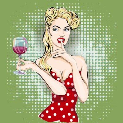Väggdekor Shhh popkonst kvinna ansikte med fingret på läpparna och ett glas vin