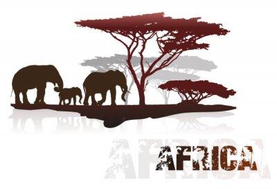 Väggdekor Silhuett av Afrika träd och elefanter