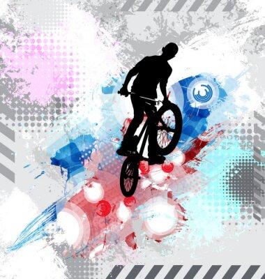 Väggdekor Silhuett av en cykelåkare.