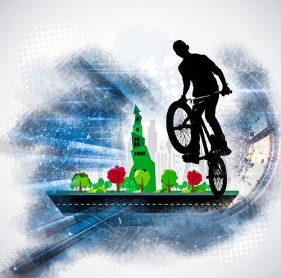Väggdekor Silhuett av en cykelrytter