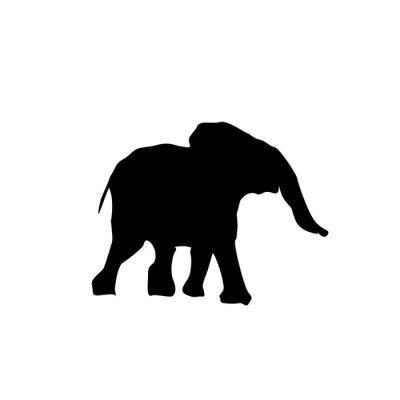 Väggdekor silhuett bebis elefant