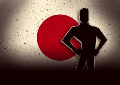 Väggdekor Silhuett illustration av en man står framför Japan sjunker