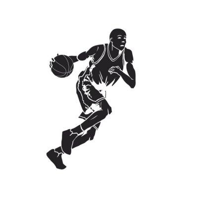Väggdekor Silhuetten av en basketspelare dribbla bollen