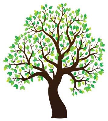 Väggdekor Silhuetten av lummiga träd tema 1