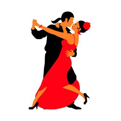 Väggdekor Silhuetter av paren som dansar sällskapsdans. Tango