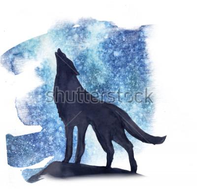 Väggdekor silhuettvarg på bakgrunden av norrsken akvarell. Norrsken
