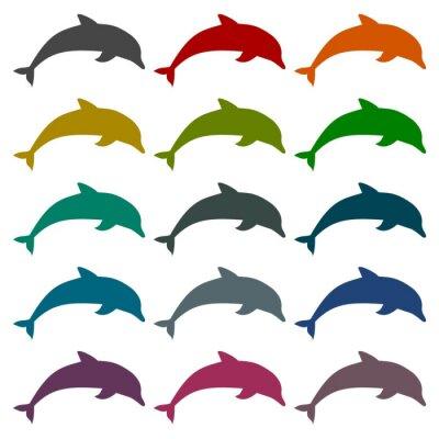 Väggdekor Siluett delfin ikoner som