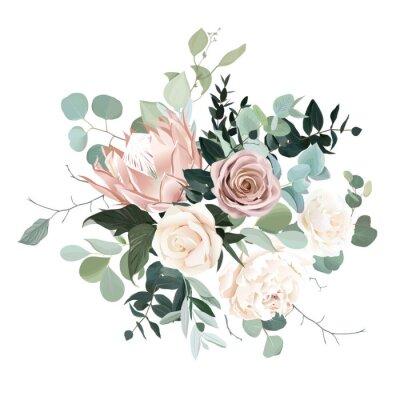 Väggdekor Silver sage and blush pink flowers vector design bouquet.