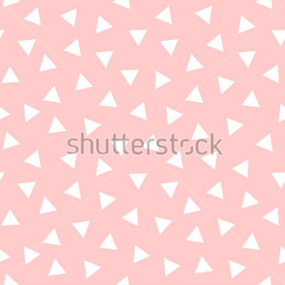 Väggdekor Simple Triangle Seamless Pattern with Pink Background, Vector illustration