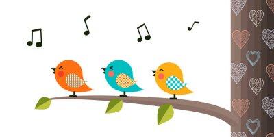 Väggdekor Singing Birds on a branch.
