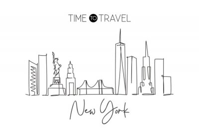 Väggdekor Single continuous line drawing of New York city skyline, USA. Famous city scraper and landscape. World travel concept home wall decor poster print art. Modern one line draw design vector illustration