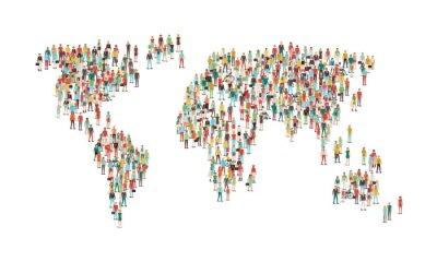 Väggdekor Skara människor som utgör en världskarta