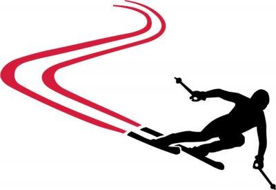 Väggdekor Ski Run med Red Track