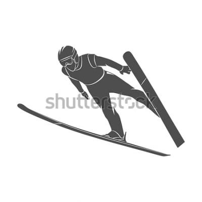 Väggdekor Skidåkare för silhuettbanhoppning på en vit bakgrund. Fotoillustration.