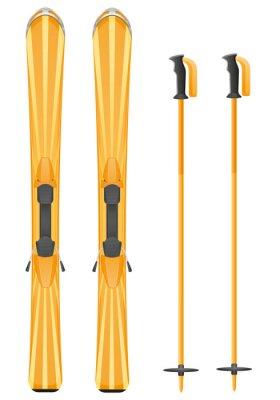Väggdekor skidor berg vektor