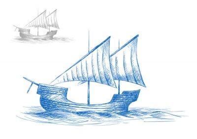 Väggdekor Skiss av gamla medeltida segelfartyg