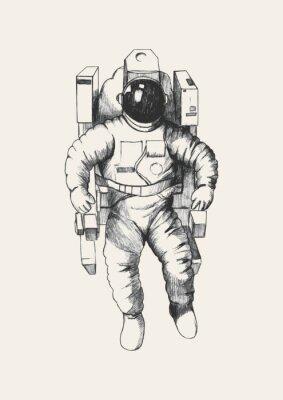 Väggdekor Skiss illustration av en astronaut