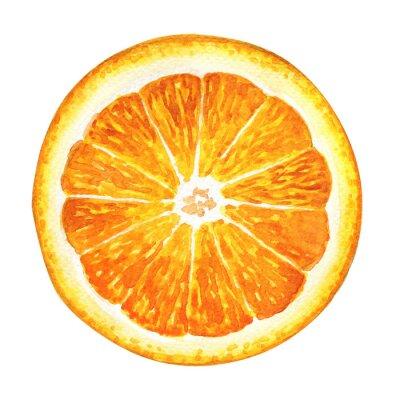 Väggdekor Skiva färsk apelsin isolerade på vit bakgrund