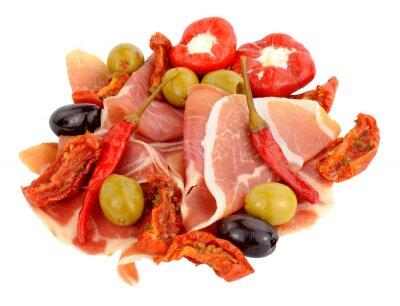 Väggdekor Skivad Serrano skinka med oliver och paprika