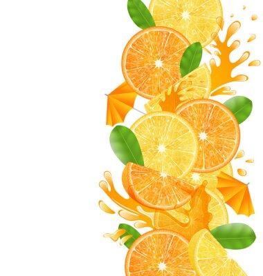 Väggdekor Skivade apelsiner och citroner
