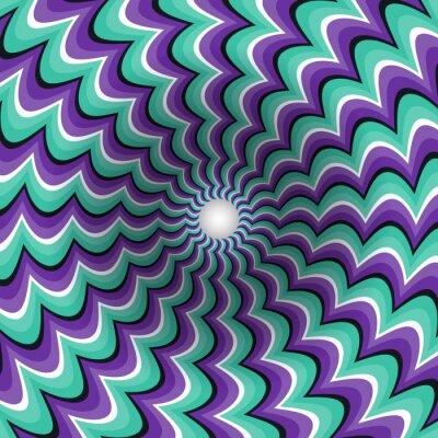 Väggdekor Slingrande remsor tratt. Roterande hål. Brokiga rörlig bakgrund. Optisk illusion illustration.