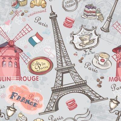 Väggdekor Smidig konsistens med bilden av sevärdheterna i Paris