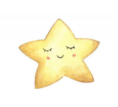 Väggdekor Smile face in the shape of star. Isolated on white background. Hand drawn watercolor illustration.
