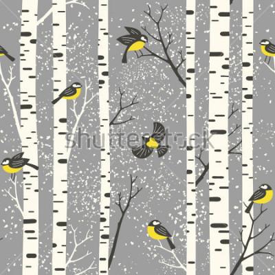 Väggdekor Snöiga björkträd och fåglar på grå bakgrund. Sömlös vektor mönster. Perfekt för tyg, tapeter, presentkort eller vykort design.