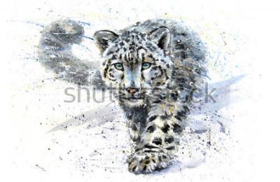 Väggdekor Snow leopard animals watercolor predator wildlife