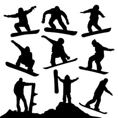 Väggdekor snowboard Silhouettes