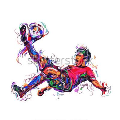Väggdekor soccer player colorful kicks / art