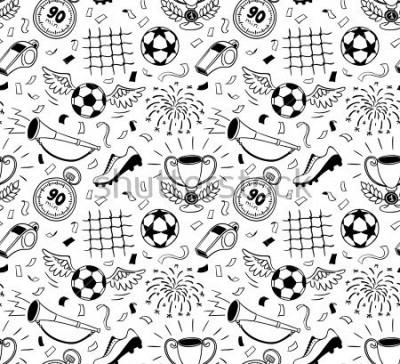 Väggdekor Soccer vector background. Vector illustration of seamless football wallpaper pattern for your design